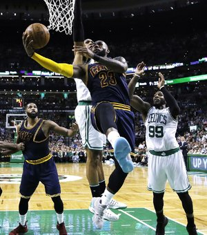 Cleveland forward LeBron James had 38 points and nine rebounds to help the Cavaliers beat Boston in the opening game of the NBA Eastern Conference finals Wednesday and wrestle away homecourt advantage from the Celtics.