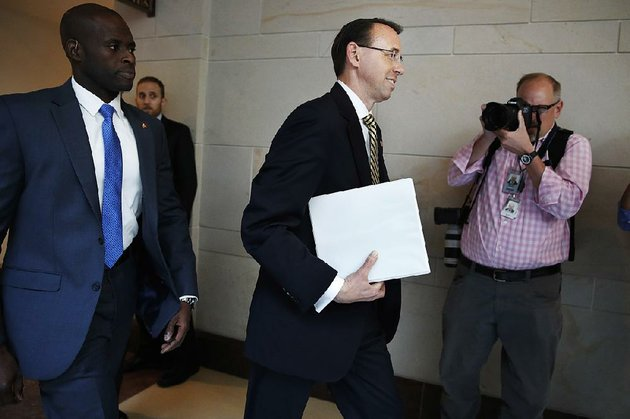 deputy-attorney-general-rod-rosenstein-arrives-thursday-on-capitol-hill-in-washington-for-a-closed-meeting-with-senators-a-day-after-appointing-former-fbi-director-robert-mueller-to-oversee-the-investigation-into-possible-ties-between-russia-and-president-donald-trumps-campaign