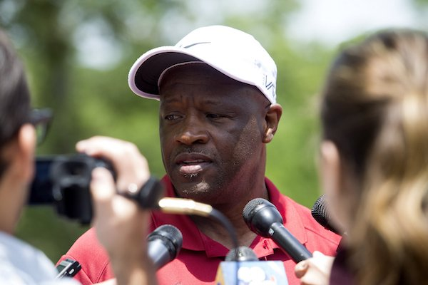 Arkansas men's basketball coach Mike Anderson speaks with members of the media during his celebrity golf tournament Monday, May 22, 2017, at Shadow Valley Country Club in Rogers.