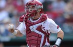 Arkansas catcher Grant Koch runs the ball to third base to tag out one of two Georgia baserunners stationed at the bag Saturday, April 15, 2017, during the fourth inning at Baum Stadium in Fayetteville. Visit nwadg.com/photos to see more photographs from the game.