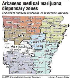 A map showing Arkansas medical marijuana dispensary zones