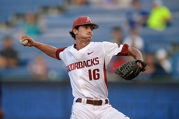 Arkansas pitcher Blaine Knight throws during an SEC Tournament game against Mississippi State on Friday, May 26, 2017, in Hoover, Ala.