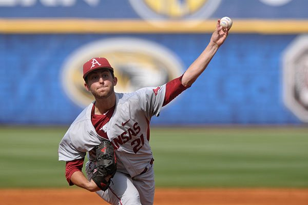 Arkansas pitcher Kacey Murphy throws during an SEC Tournament game against Florida on Saturday, May 27, 2016, in Hoover, Ala.