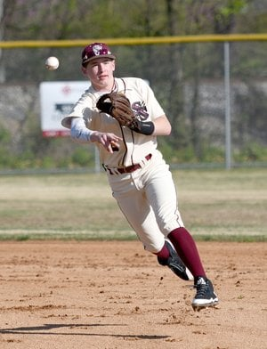 Bud Sullins/Special to the Herald-Leader Second baseman L.T. Ellis makes a play in a game during high school baseball season. Ellis is on the roster for the Siloam Springs American Legion Post 29 baseball team.