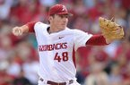 Arkansas pitcher Trevor Stephan throws during an NCAA Regional game against Oral Roberts on Friday, June 2, 2017, in Fayetteville.