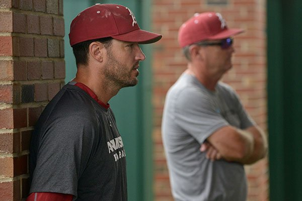 Arkansas assistant coach Tony Vitello, left, and Arkansas head coach Dave Van Horn watch batting practice Tuesday, May 23, 2017, at Jerry D. Young Memorial Field on the UAB campus in Birmingham, Ala.