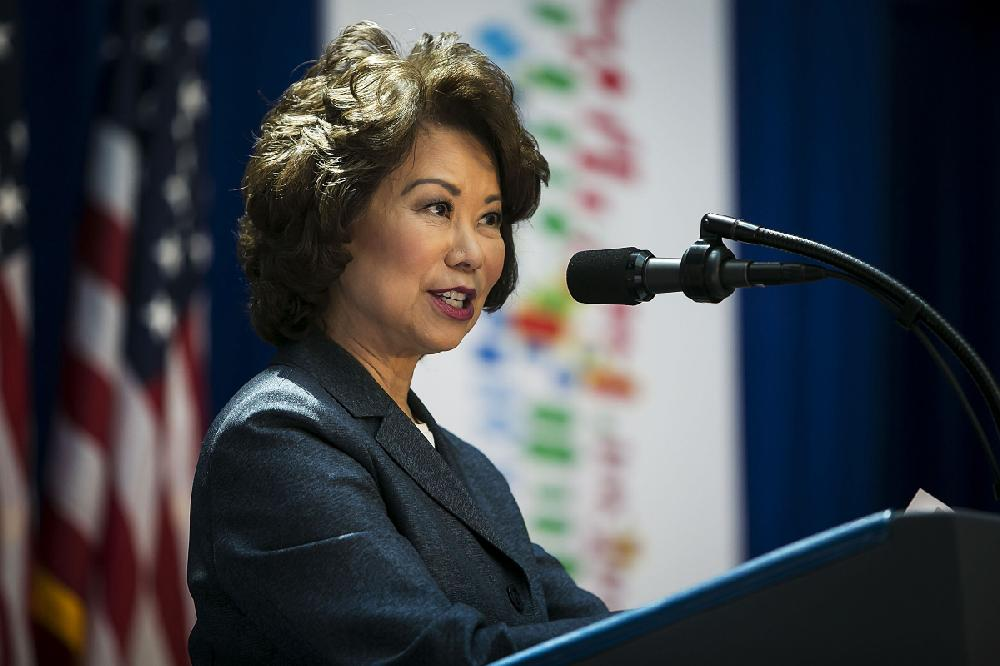 ... Elaine Chao speaks before President Donald Trump's appearance