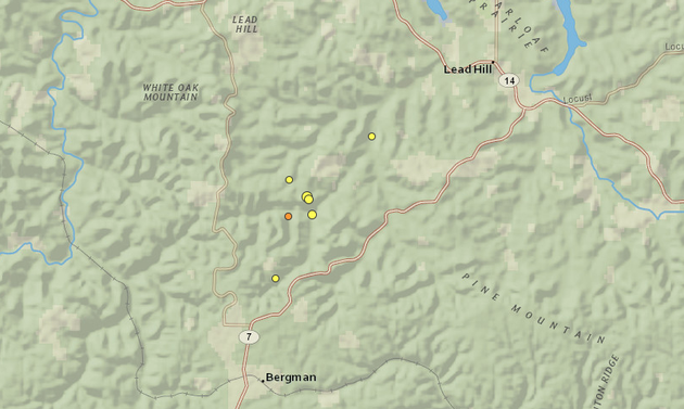 Officials Confirm Earthquakes Shook Arkansas Over The Weekend - Arkansas relief map