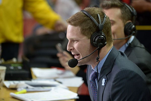 Play-by-play announcer Alex Perlman works during an SEC Network telecast of a game between Arkansas and Stephen F. Austin on Thursday, Dec. 1, 2016, in Fayetteville.