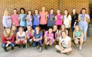 Submitted photo The Prairie Grove Junior High girls track and field team is swelling in numbers. Back row (from left): Jada Rowe, Trinity Dobbs, Jasmine Wynos, Gracie Pierce, Emily Traylor, Olivia Kestner, Alyssa LeDuc, Makayla Smith, Katie Doering, Jeryn Carter, Kyli Jenkins. Front row: Emma Hannah, Sophie Gaither, Charity Stearman, Toni Parrish, Addie Nall, Torie Price, Mariah Halbert, Abigail Howerton, Melanie Ward, and Jordan Ward. Not pictured: Jessica Burton, and Jacquelynn Jenkins. More kids are coming out. Coach Dana Froud is working with boys' coach John Elder and Keith Bostain to develop competitive athletes.