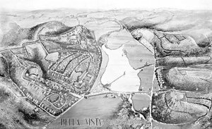 Photo from Bella Vista Historical Museum This artist's sketch from 1923 shows a bird's-eye view of the original part of Bella Vista. The view looks south toward Bentonville.