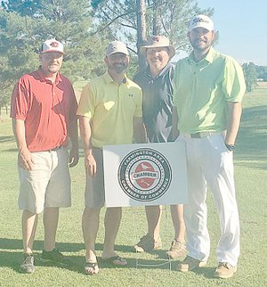 SUBMITTED PHOTO Keith Purifoy, left, Thomas Fulcher, Jon Purifoy and Frank Sprick won the 1st Annual Joe Bailey Memorial Golf Tournament, sponsored by Farmington Area Chamber of Commerce. The tournament was held June 6 in Fayetteville.