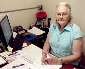 Photo by Randy Moll Maxine Foster is the new manager at the Gentry Senior Activity and Wellness Center. She started in the position on June 1 and is at work to expand the center's activities and offerings and to increase the meal service program of the center.
