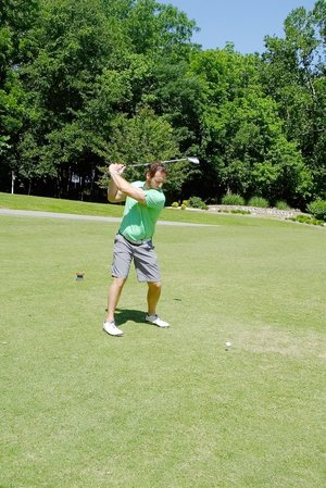 Lynn Atkins/The Weekly Vista Tony Alexander of Mid-Amercan Display traveled from Louisville, Ky., to play at the Cancer Challenge Golf Tournament on Friday.