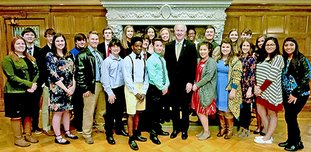 Submitted photo YOUTH LEADERS: Class 22 of the Leadership Hot Springs/Partnership with Youth Program met with Gov. Asa Hutchinson this semester in the Governor's Conference Room at the state Capitol. Members of Class 22 graduated in May and nominations are now open for Class 23.