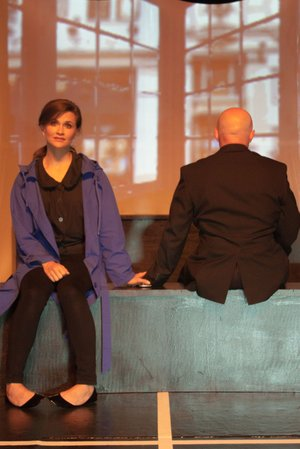 """Rachael Small is Jean, a young woman whose life is changed by a """"Dead Man's Cell Phone"""" in the APT production opening tonight. Kris Isham plays the surprisingly present dead man."""