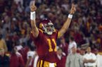 Quarterback Matt Leinart celebrates after a score in USC's 70-17 win over Arkansas on Sept. 17, 2005, at Los Angeles Memorial Coliseum in Los Angeles, Calif.