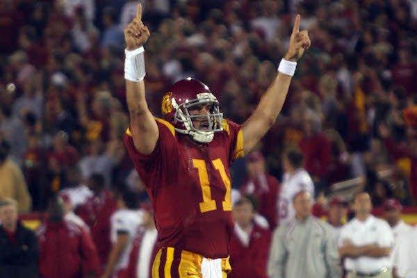 Quarterback Matt Leinart celebrates after a score in USC's 70-17 win over Arkansas on Sept. 17, 2005, at Los Angeles Memorial Coliseum in Los Angeles, Calif.
