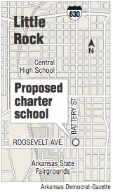 A map showing the location of a proposed charter school.