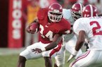 Arkansas running back Madre Hill (34) cuts back against the Alabama defense during the third quarter Saturday, Sept. 26, 1998, in Fayetteville, Ark. Arkansas beat No. 22 Alabama 42-6. (AP Photo/Beau Rogers)