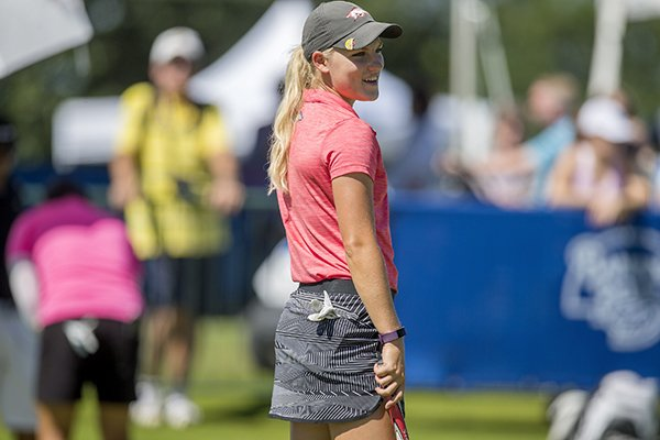 Arkansas Razorbacks junior Alana Uriell practices on the practice putting green Wednesday, June 21, 2017, during the Walmart NW Arkansas Championship presented by P&G at Pinnacle Country Club in Rogers.