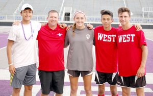 Graham Thomas/Siloam Sunday The Siloam Springs High School soccer program was well-represented this past week at the Arkansas High School Coaches Association All-Star Week in Conway. Pictured from left, are manager Christian Marroquin, West boys head coach Brent Crenshaw, West girls goalkeeper Anna Claire Lewis and West boys players Francisco Sifuentes and Austin Shull.