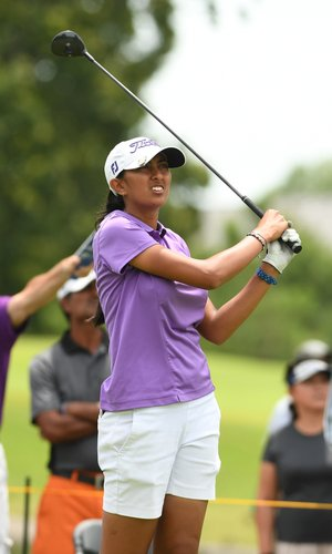 Aditi Ashok watches her tee shot Saturday on the ninth hole at the Walmart NW Arkansas Championship at Pinnacle Country Club in Rogers.
