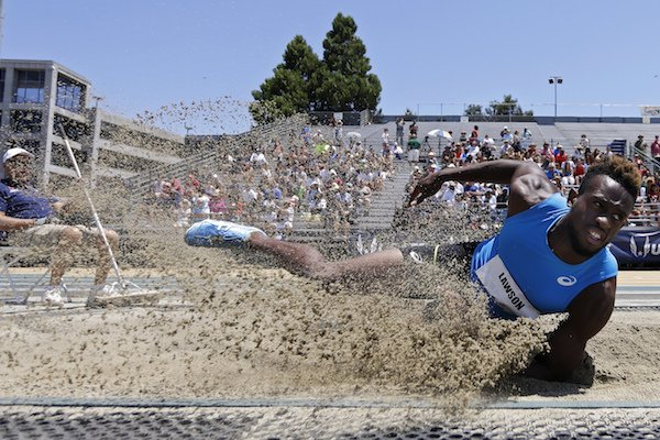Jarrion Lawson lands a jump in the men's long jump at the U.S. Track and Field Championships, Sunday, June 25, 2017, in Sacramento, Calif. Lawson won the event. (AP Photo/Rich Pedroncelli)