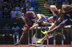 Omar McLeod, of Jamaica, races to victory in the 110 hurdles during the second day of events at the IAAF Diamond League Prefontaine Classic at Hayward Field in Eugene, Ore., Saturday, May 27, 2017. (Andy Nelson/The Register-Guard via AP)