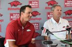 Arkansas assistant coach Nate Thompson, left, and Arkansas head coach Dave Van Horn take questions during a news conference Wednesday, June 28, 2017, in Fayetteville.