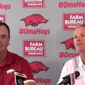 New Arkansas baseball assistant Nate Thompson (left) and Dave Van Horn at Thompson's introductory pr...