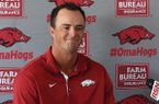 Newly hired assistant Arkansas assistant coach Nate Thompson takes questions from the press at Baum Stadium Wednesday June 28, 2017. Thompson formerly coached at Missouri State.