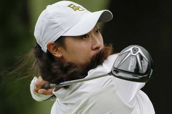 Dylan Kim tees off on the second hole during the first round of the U.S. Women's Open golf tournament at Lancaster Country Club, Thursday, July 9, 2015 in Lancaster, Pa. (AP Photo/Frank Franklin II)
