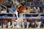 U.S. Team's Brian Anderson, of the Miami Marlins, hits a single during the seventh inning of the All-Star Futures baseball game, Sunday, July 9, 2017, in Miami. The U.S. Team won 7-6. (AP Photo/Lynne Sladky)