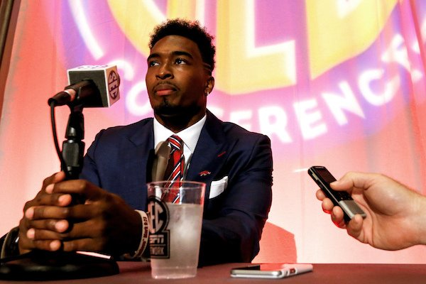 Arkansas NCAA college football player Kevin Richardson II speaks during the Southeastern Conference's annual media gathering, Monday, July 10, 2017, in Hoover, Ala. (AP Photo/Butch Dill)