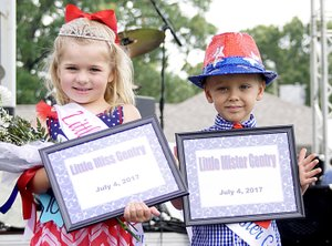 Photo by Randy Moll Grace Hughes and Asa Chamberlain were the winners of the Little Miss Gentry and Little Mister Gentry pageants held on stage at the Gentry July 4 Freedom Festival.