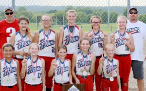 Photo submitted The Gentry Pride, a 12-and-under softball team with players from Siloam Springs, Gentry, Gravette and Colcord, Okla., finished first in the USSSA 12c State Championship tournament in Russellville on July 1-2. The team will be traveling to two USSSA national tournaments in July; first heading to Bixby, Okla., on Friday through Sunday, and Kansas City, Mo., on July 19-23.