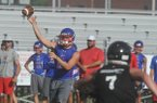 Bixby quarterback Tanner Griffin releases a pass Saturday, July 16, 2016, during the championship game of Southwest Elite 7-on-7 tournament at Champions Stadium at Shiloh Christian in Springdale.