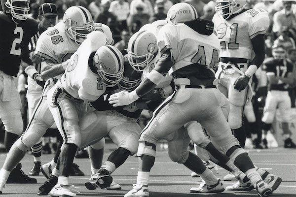 Universtiy of Arkansas Running back E.D. Jackson is wrapped up by The Citadel defence during the Sept. 5, 1992 football game in Fayettville.