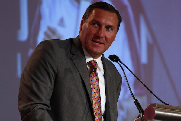 Mississippi State NCAA college coach Dan Mullen speaks during the Southeastern Conference's annual media gathering, Tuesday, July 11, 2017, in Hoover, Ala. (AP Photo/Butch Dill)