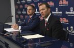 University of Mississippi Chancellor Jeffrey Vitter, left, and athletic director Ross Bjork speak at a news conference about the resignation of football coach Hugh Freeze, in Oxford, Miss., Thursday, July 20, 2017. (Bruce Newman/Oxford Eagle via AP)