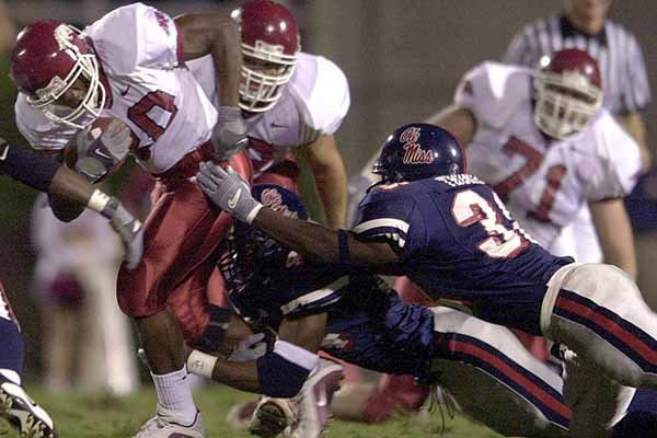 Arkansas running back Fred Talley carries the ball during a game against Ole Miss on Saturday, Nov. 3, 2001, in Oxford, Miss.