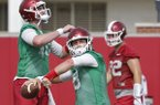 Arkansas quarterback Austin Allen throws a pass during practice Thursday, July 27, 2017, in Fayetteville.