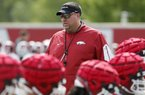 NWA Democrat-Gazette/DAVID GOTTSCHALK Bret Bielema, head coach of the Arkansas Razorbacks Thursday, July 17, 2017, during practice on campus in Fayetteville.