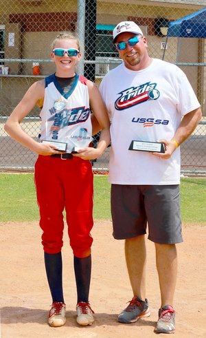 Submitted Photo Kyleigh Wheaton is pictured with head coach Clay Stewart at the Bixby, Oklahoma tournament.