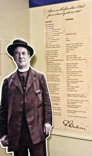 A display at Tontitown Historical Museum shows the Rev. Pietro Bandini along with the names of 1898's original Italian-American settlers.