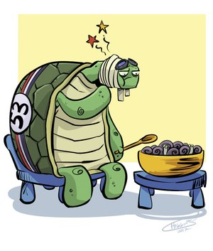 Arkansas Democrat-Gazette turtle pain illustration.