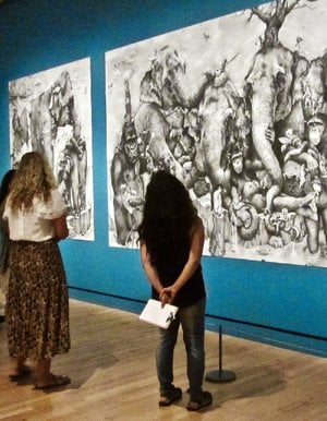 "Adonna Khare's Elephants is displayed in the ""Animal Meet Human"" exhibition at Crystal Bridges Museum of American Art in Bentonville."