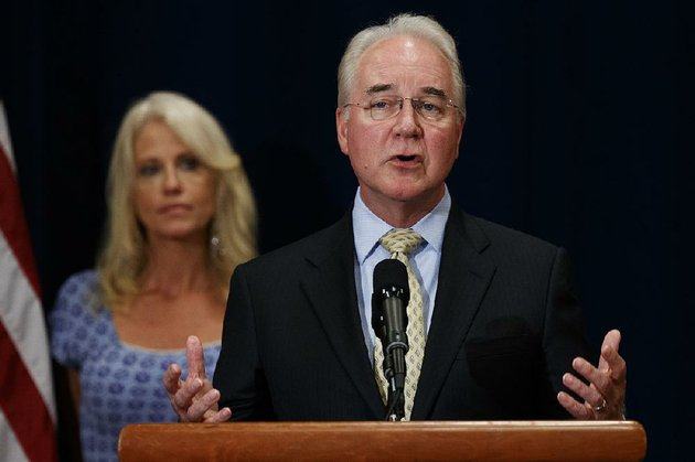 white-house-senior-adviser-kellyanne-conway-listens-as-secretary-of-health-and-human-services-tom-price-speaks-with-reporters-about-the-opioid-crisis-tuesday-aug-8-2017-in-bridgewater-nj