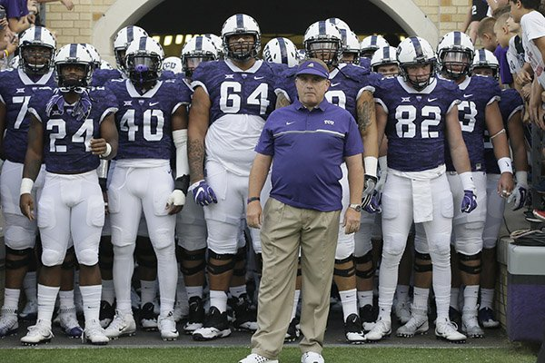 In this Sept. 3, 2016, file photo, TCU head coach Gary Patterson waits to lead his team onto the field before an NCAA college football game against South Dakota State in Fort Worth, Texas. (AP Photo/LM Otero)